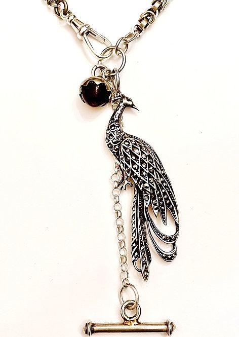 Silver Antique Chains Vintage Silver Peacock Marcasite, Acorn, T Bar Necklace