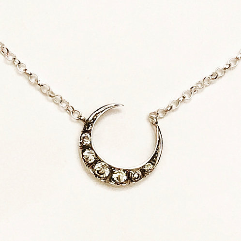 Antique Silver & Paste Crescent Moon Necklace