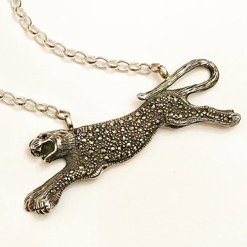 Fierce Vintage Silver Paste and Marcasite Embellished Leopard Necklace