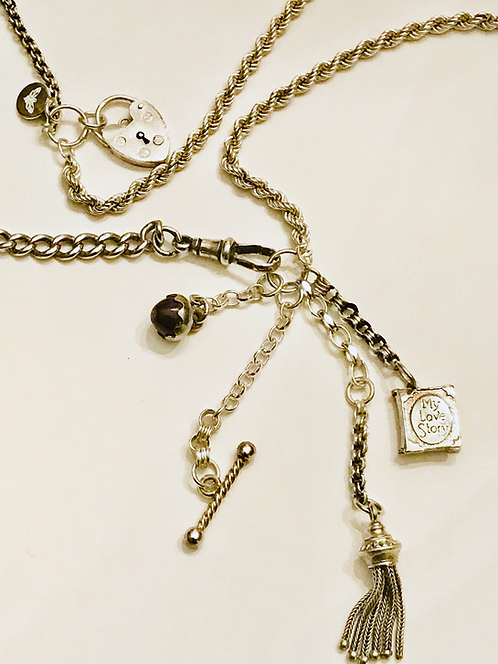 Silver Antique Albertina Chain Necklace 'My Love Story'