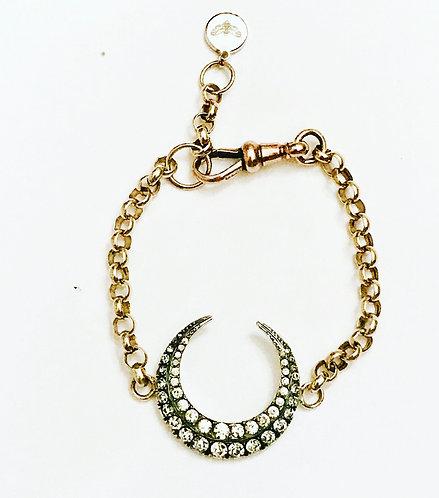 Antique Silver & Paste Crescent Moon, 9ct Gold Chain Bracelet