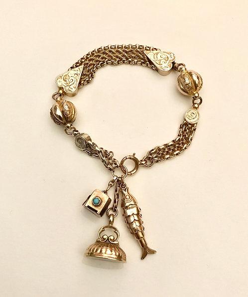 9ct Gold Antique Albertina Charm Bracelet