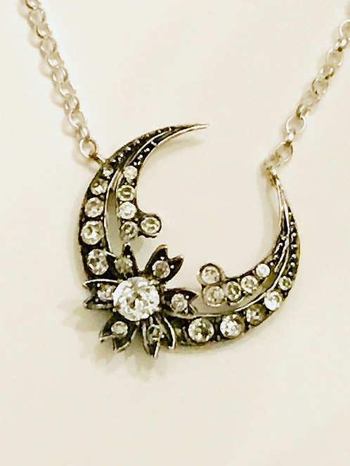 Victorian Silver Crescent Moon Flower Necklace 'The Honeymoon'