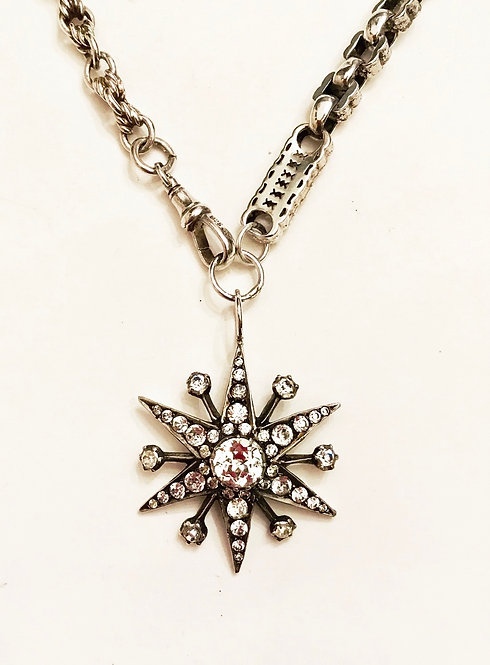 Antique Silver Fancy link Watch Chain Starburst Necklace