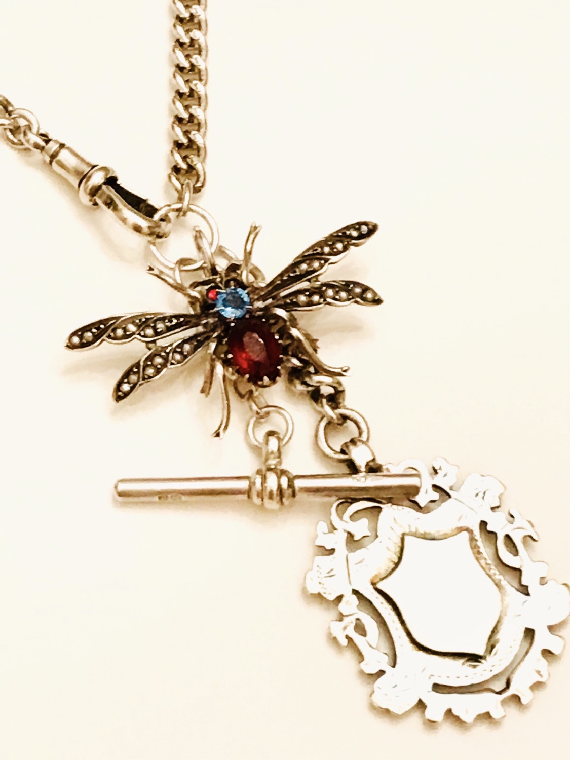Antique Victorian Silver Watch Chain, Butterfly, Bug, Insect, Fob Charm Necklace