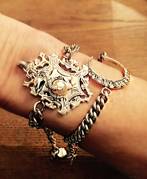 Heavy Antique Albert Chain Fob Charm Bracelet Claw Skull (Unisex)