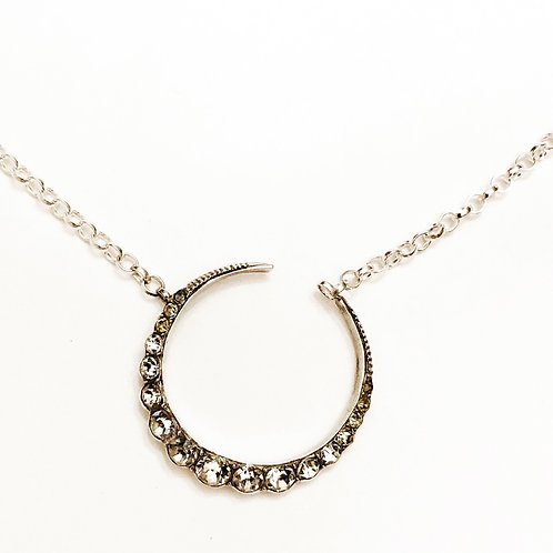 Antique Silver & Paste Crescent Moon Necklace 'New Beginnings'