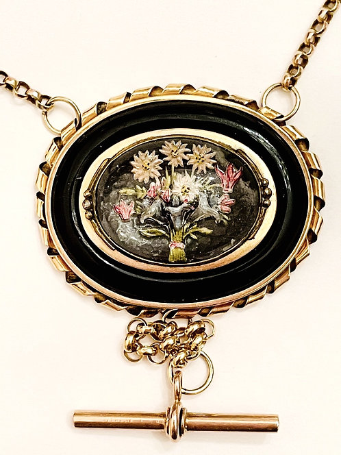 Stunning Antique Onyx and Floral Intaglio Crystal Mourning Locket Guard Chain