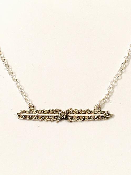 Vintage Silver & Marcasite Bar Necklace