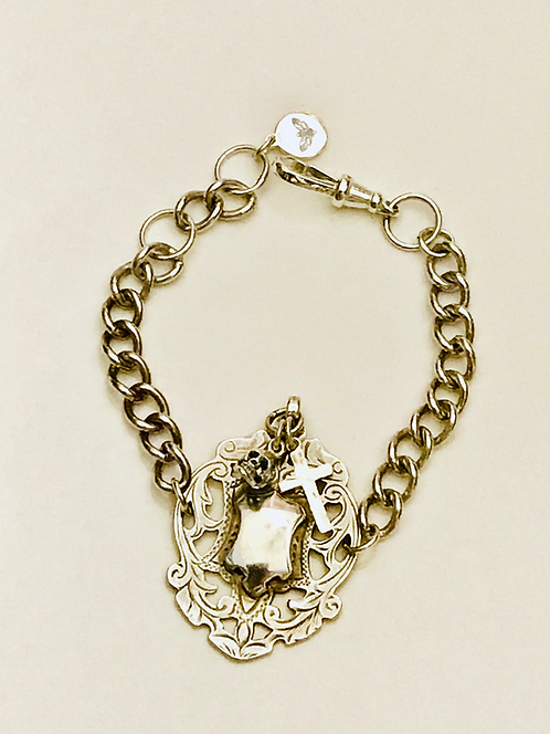 Antique Albert Fob Watch Chain Bracelet with Charms