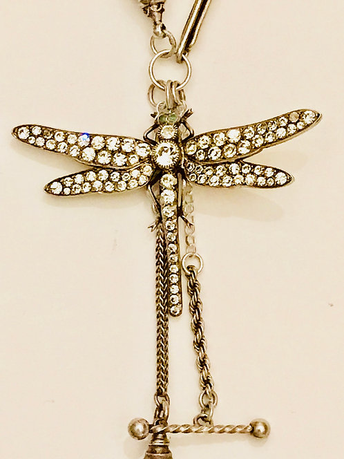 Magnificent Large Antique Silver & Paste 'Dragonfly' Albertina Necklace