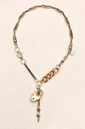 Antique Silver Gold Chain Fusion Necklace