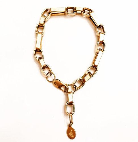 Vintage 9ct Gold Chunky Link Chain Bracelet