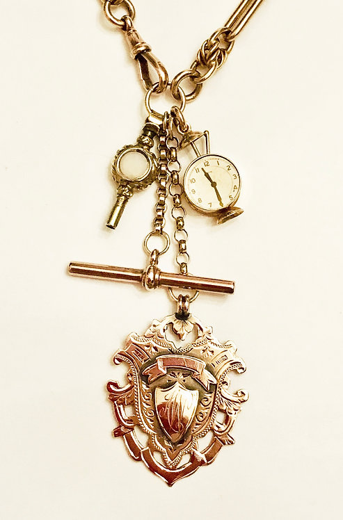 Antique 9ct Rose Gold Fancy Watch Chain, Charm, Fob & Curios Necklace