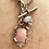 Thumbnail: Antique Heavy Silver Watch Chain, Fob, Crystal Skull, Angel Wing Necklace