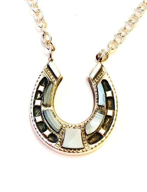 Antique Silver and Scottish Agate Horseshoe Necklace
