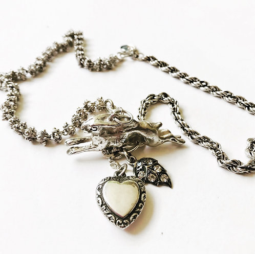 Silver Vintage Charms and Curios Hare, Bunny Charm Necklace