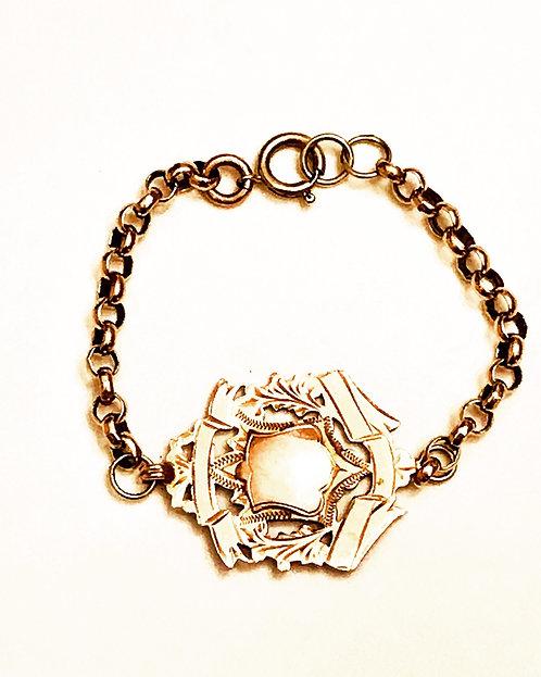 Antique 9ct Rose Gold Albert Fob Bracelet