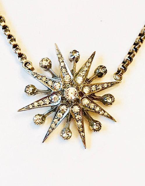 Antique Diamond Star, Starburst 9ct Gold Antique Chain Necklace