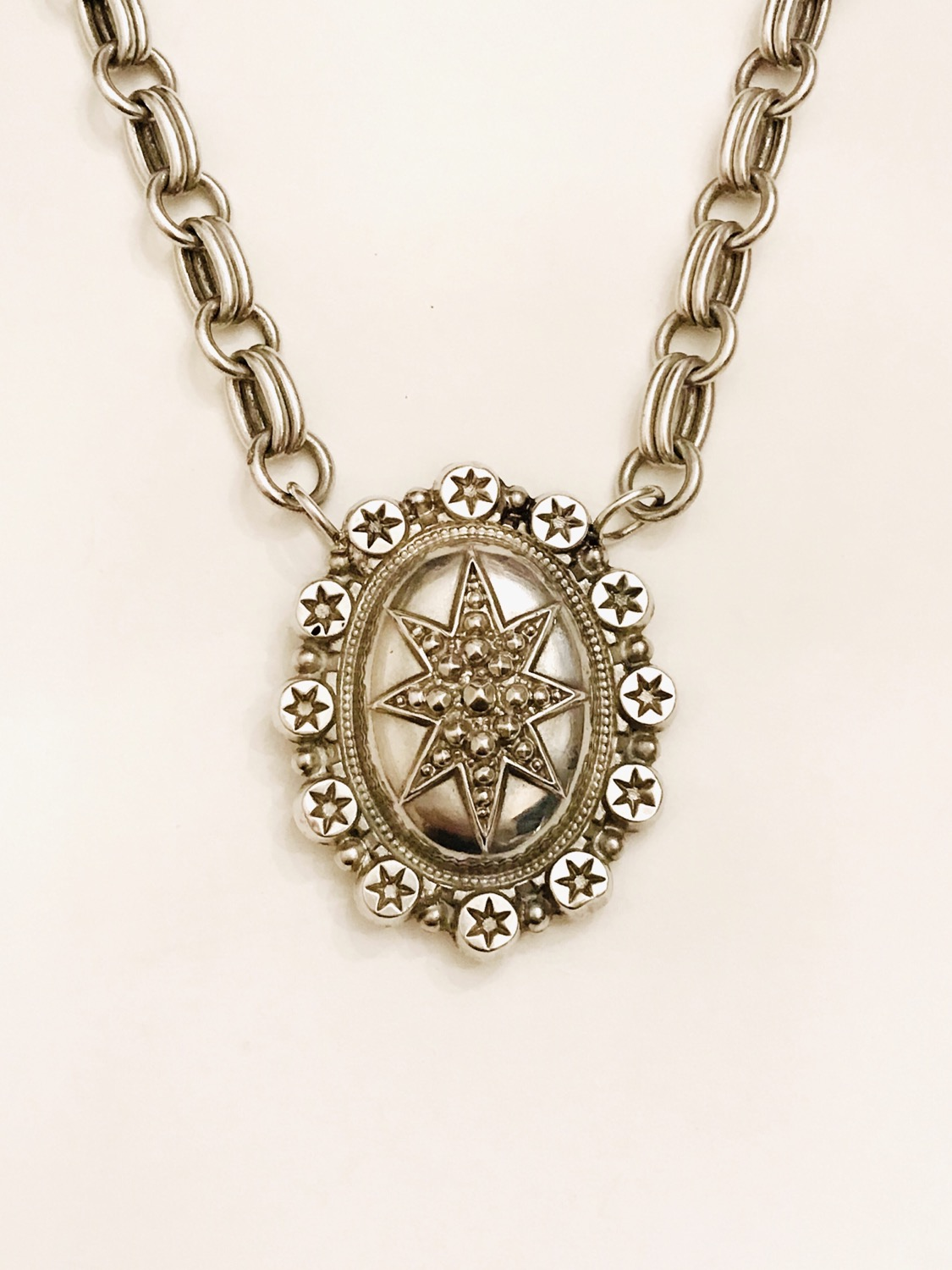 Silver Victorian North Star Photo Memento Locket Necklace