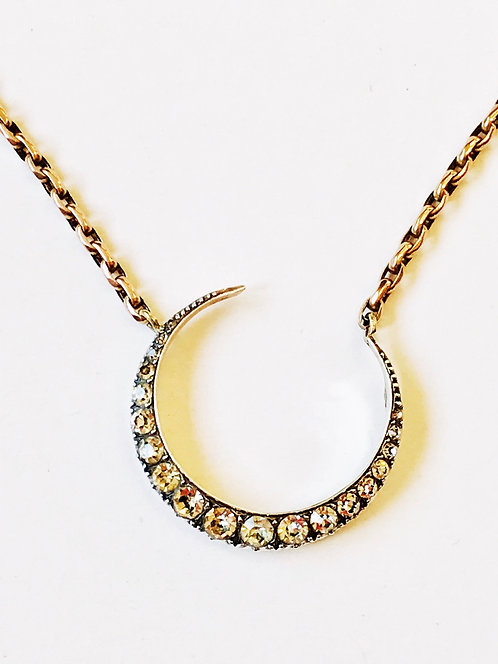 Antique Crescent Moon, 9ct Gold Chain Necklace 'New Beginnings'