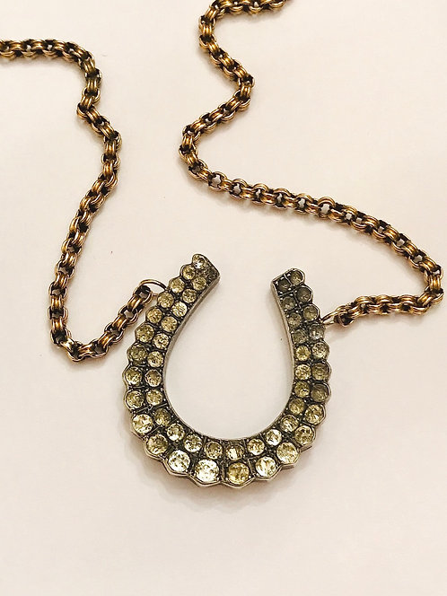 Large Victorian Silver Paste Horseshoe on 9ct Gold Victorian Chain Necklace