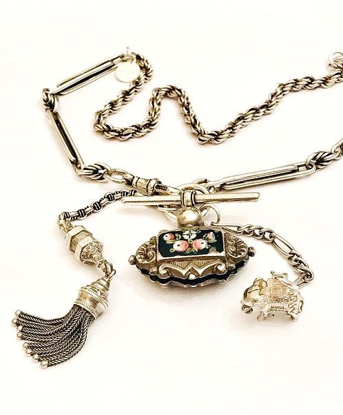 Silver Antique Watch Chain Georgian Rose Fob, Elephant, Tassel  Necklace