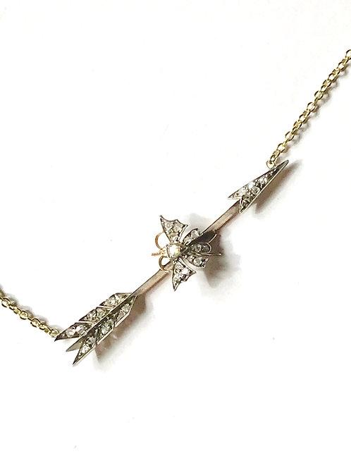 Antique Victorian Diamond, Bug, Butterfly Arrow Necklace