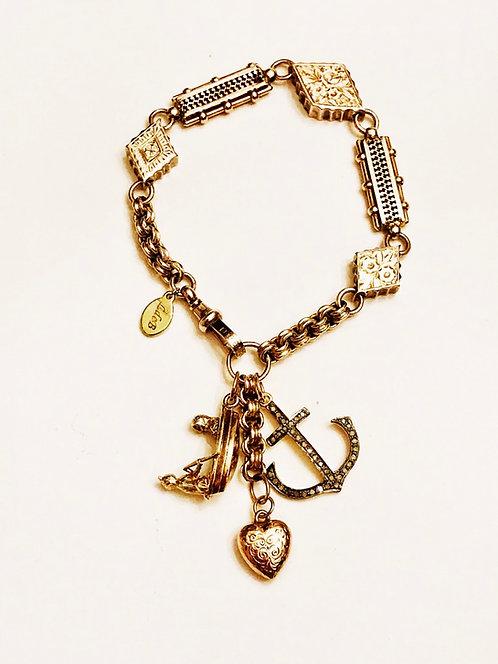Antique 9ct Gold Fancy Albertina Watch Chain Vintage Charm Bracelet