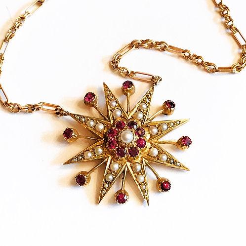 Magnificent Vintage 9ct Gold, Pearl & Garnet Starburst Fancy Chain Necklace