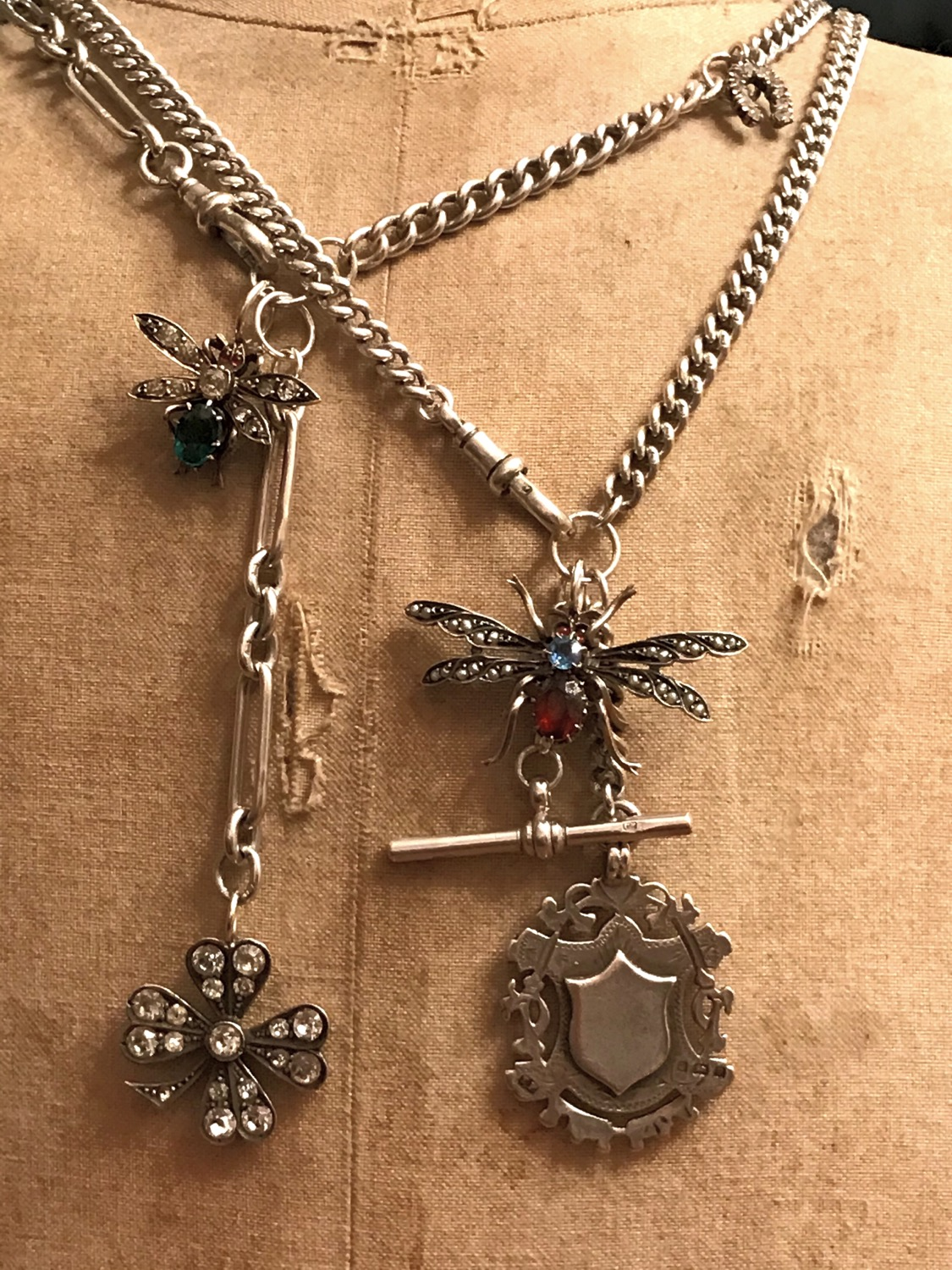 Thumbnail: Antique Victorian Silver Watch Chain, Butterfly, Bug, Insect, Fob Charm Necklace