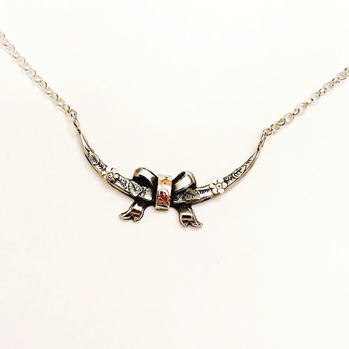 Victorian Silver & 9ct Gold Honeymoon, Crescent Moon, Bow,Forget Me Not Necklace