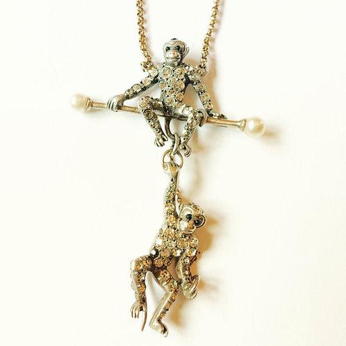 Antique 9ct Gold, Silver, Diamond Paste Monkeys