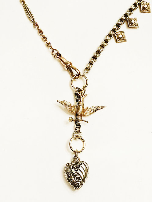 Antique Multi Chain, Swallow, Heart Charm Necklace