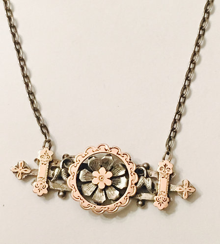 Antique Silver and 9ct Gold Sweetheart Love & Luck Flower Necklace