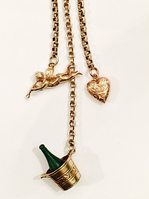 Antique 9ct Gold Guard Chain with Vintage Charms 'Trumpets'