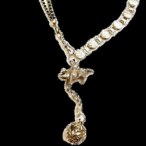 Antique Silver Locket, Albertina Chain, Vintage Piggy Charm  Necklace
