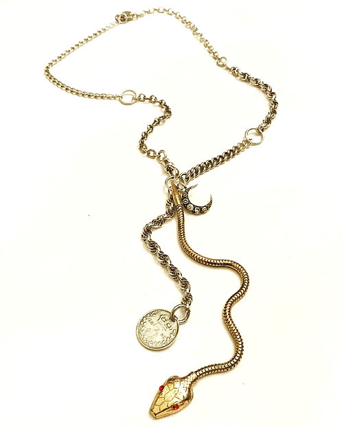 Silver Vintage Chain, Snake, Crescent Moon, Coin Charm Necklace