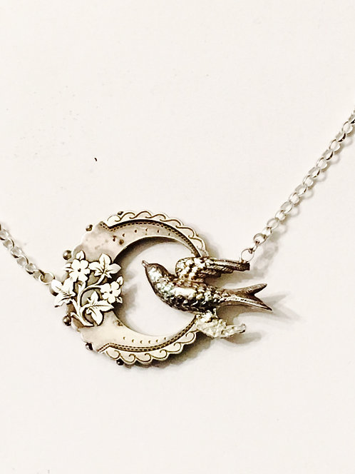 Antique Silver Crescent Moon & Swallow Necklace