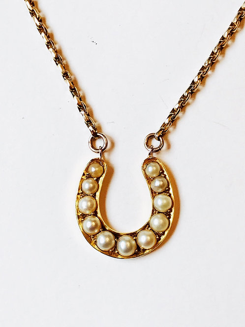 Antique Victorian 18ct Gold & Pearl Horseshoe Necklace