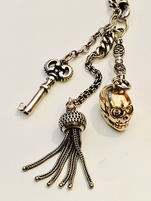 Silver Antique Albertina Watch Chain with Silver & 9ct Gold Skull Charms Curios