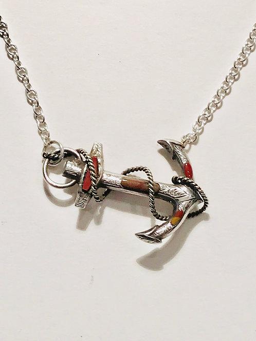 Antique Silver and Scottish Agate/Cornelian Set Anchor Necklace