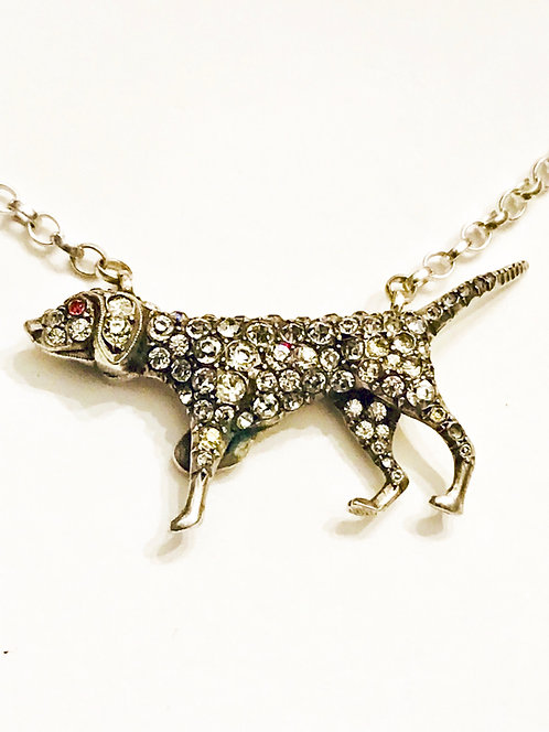 Antique Silver & Paste Dog Necklace