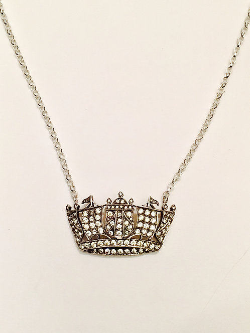 Vintage Silver & Diamond Paste Naval Crown Necklace