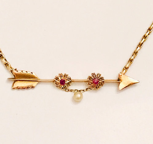 Antique Victorian 9ct Gold Diamond Ruby & Pearl Arrow Guard Chain Necklace