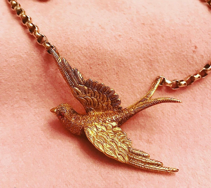 18ct Gold & Ruby Victorian Swallow