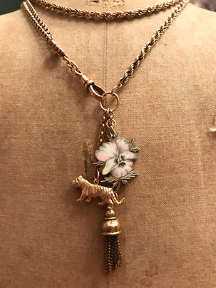 Victorian Albertina Chain Wild Pansy Tiger Long Charm Necklace