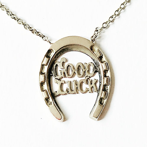 Antique 9ct Rose Gold Horseshoe 'Good Luck' Necklace