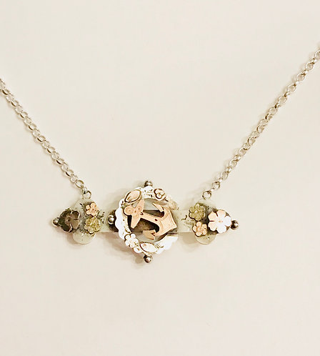Antique Silver & Gold Sweetheart Anchor, Flower Necklace