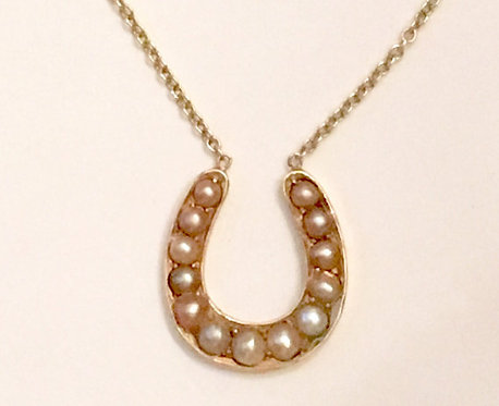 Antique 9ct Gold & Pearl Horseshoe Necklace